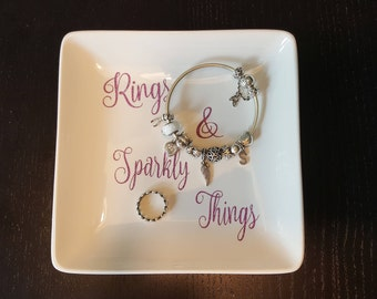 Rings & Sparkly Things - Jewelry Dish, gift, wedding gift, jewelry, handmade