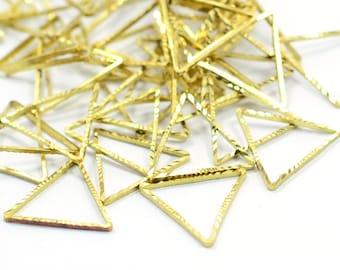20 Pcs. Raw Brass 15x15 mm Triangular Geometric Findings