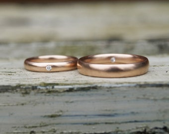 Red gold bands with diamond, rose gold and diamond rings