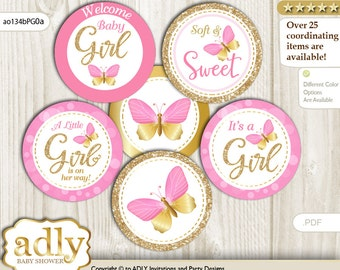 Girl Butterfly Cupcake Toppers for Baby Shower Printable DIY, favor tags, circles, It's a Girl, Bokeh - ao134bPG0