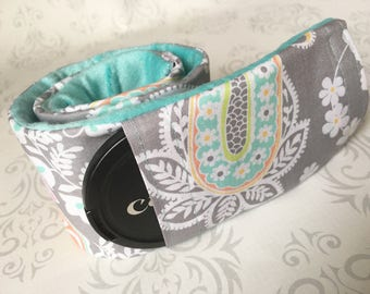 Camera Strap Cover with Lens Cap Pocket - Padded Minky, DSLR Camera Strap Cover, Photographer Gift - Pastel Paisley with Aqua