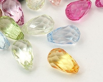 20pc mix color 18x10.5mm facted acrylic drop beads-6858