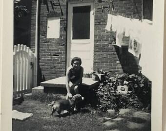 "Vintage Photo ""Laundry Day and Pups"" Snapshot Antique Black & White Photograph Paper Found Ephemera Vernacular Interior Design Mood - 56"