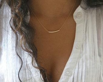 The Original Golden Gold Bar . quality gold bar curvature necklace . gold filled balance bar . simple everyday elegant tube bar. By SimaG