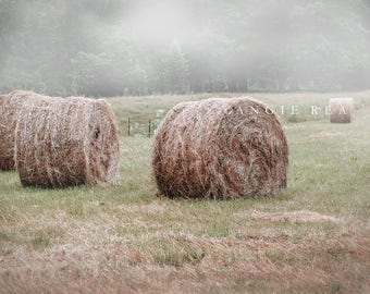 Hay Bales Country Field Photography, Modern Rustic Decor, Simple Life, Farmhouse Decor, Round Hay Bales, Summer Field, Large Wall Art
