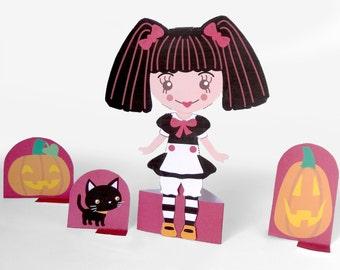 Printable Paper Doll Halloween Rose