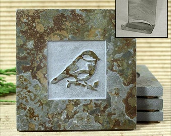 Bird 1 - Real Etched Slate Coaster Set with Holder