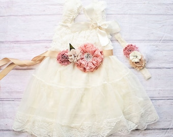 Rustic Flower Girl Dress, Ivory Flower Girl Dress, Rustic Flower Girl Dress with sash, Flower Girl Outfit,Wedding Dress, Ivory Wedding Dress