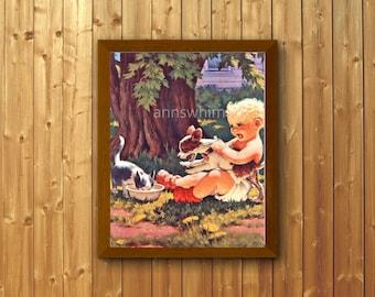 Nursery Art Print, Boy's Room Art Print, Family Room Art, Boy, Dog, and Cat Art  Wonderful Restored Antique Print  #183