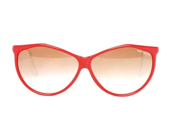 red vintage sunglasses with white temples - butterfly sun glasses - special shape -  rosy