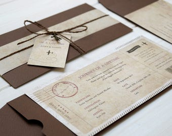 Journey Of A Lifetime | Vintage Boarding Pass, Travel Themed, Wedding Invitation, Old map, Brown