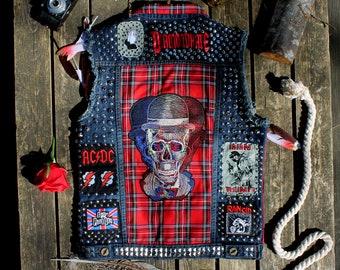 Punk Rock Vest, Denim Punk Vest, Crust Punk Vest, Punk Rock Jacket, Studded Vest, Studded Denim Jacket, Studded Punk Jacket, Skull vest