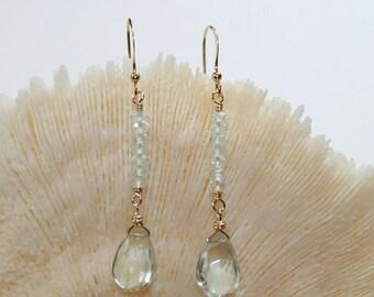 Green Amethyst Earrings, Aquamarine, Gold Filled, Gemstone Jewelry, Green Amethyst Aquamarine Jewelry, March Birthstone