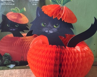 Vintage Hallmark Honeycomb Halloween Centerpiece, Cat and Pumpkin