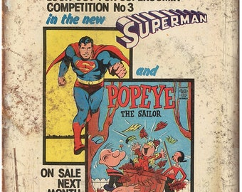 "Superman Popeye Supercomix Comic Ad 10"" X 7"" Reproduction Metal Sign J102"