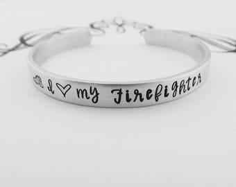 I love my Firefighter - Hand Stamped Bracelet - I (heart) my Firefighter - Firefighter's Wife - Firefighter's Girlfriend - Valentine's Gift