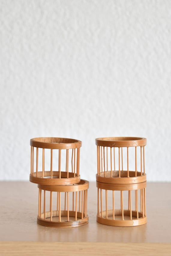 mid century modern woven rattan bamboo napkin ring holders / set of 4