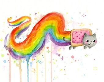 Rainbow Cat Watercolor Art Print Giclee, Rainbow Art, Whimsocal Cat Art, Cat Painting, Meme Print, Meme Art, Rainbow Poptart, Internet Meme
