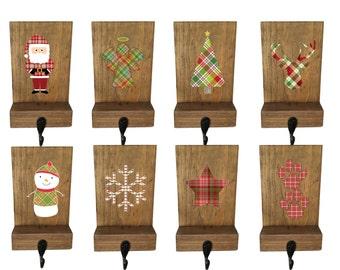 stocking holders, mantle stockings, reclaimed wood, set of 6, rustic Christmas, plaid stocking hooks, mantle decor, wood stocking hanger