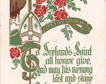 Carte postale ancienne de la Saint-Patrick, Erin Go Bragh, 1911 Copyright