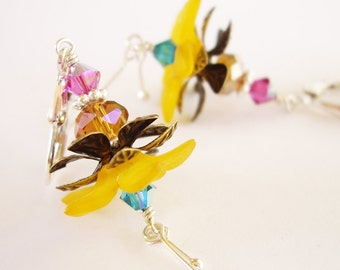 Tropical Beauty in Golden Yellow - Lucite Flower, Swarovski Crystal, Sterling Silver, Brass