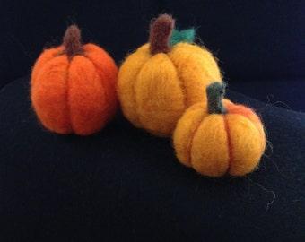 Needle Felted Pumpkins - set of three.