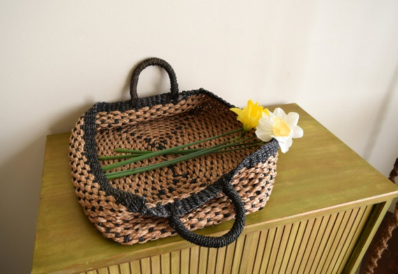 Vintage Woven Gathering Basket w/Handles ~  Bohemian, Farmhouse, Natural, Rustic, Folk