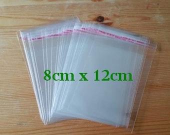 Self Adhesive Plastic Storage Bags, 8cm x 12cm, 100 PCS Clear Craft Sealing Bags