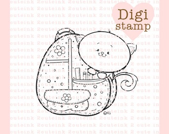 Kitty Backpack Digital Stamp for Card Making, Tags, Paper Crafts, Scrapbooking, Hand Embroidery, Invitations, Stickers, Cookie Decorating