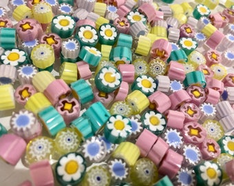 NEW SPRING MIX! Millefiore Glass Slices, coe 104 Mix, 1 oz (28 grams) Translucents, Fusing, Mosaic or Lampwork, Best Quality from Italy