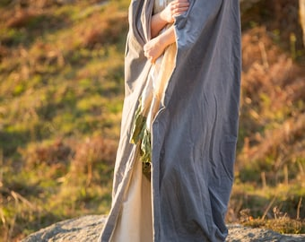 Pale blue velvet hooded cloak, Perfect for a wedding, handfasting, heavy cotton velvet with large hood. re-enactment cosplay LOTR medieval