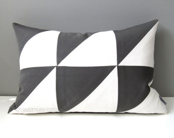 Grey & White Outdoor Pillow Cover, Modern Color Block Pillow Cover, Decorative Pillow Cover, Geometric Sunbrella Cushion Cover, Mazizmuse