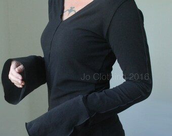 Vneck top, bell cuffs, womens top, in Black
