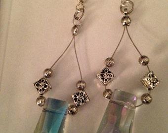 Rectangular Iridescent Dangle Earrings