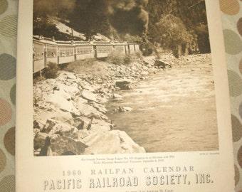 Vintage 1960 Railfan Calendar Pacific Railroad Society