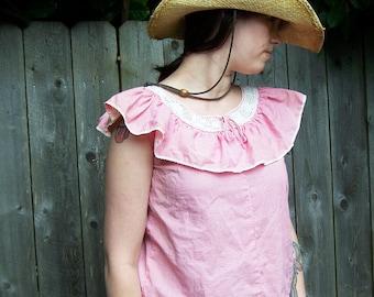 Vintage Handmade Ruffled Shirt