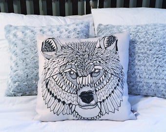 "Bear Head Pillow Cover 18"" x 18"" / Geometric Bear Pillow Cover / Bear Face Drawing"