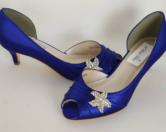 Blue Wedding Shoes with a Crystal Starfish Blue Bridal Shoes Blue Kitten Heels 100 COLOR CHOICES Cobalt Blue Shoes Royal Blue Shoes