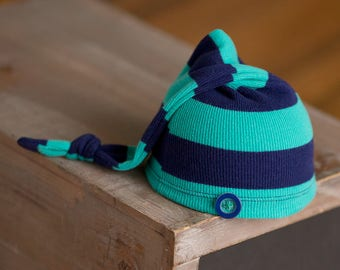 Upcycled Newborn Hat, Teal and Navy Striped Newborn Hat, Newborn Boy Hat, Newborn Photography Prop, Newborn Hospital Hat, Newborn Boy Prop