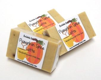 Pumpkin Spice Latte Handmade Coffee and Goats Milk Soap Dye Free MINI GUEST SIZE Soap Bar