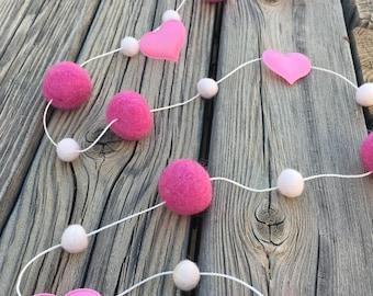 Valentine's  Day Felt Ball Garland, Pom Pom Garland, Nursery Decor, Bunting Banner, Party Decor, Baby Shower