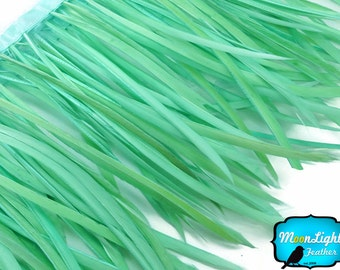 Goose Feathers, 1 YARD - Aqua Green Goose Biots Feather Trim : 3365