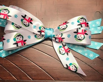 Winter penguin and glitter snowflake bow