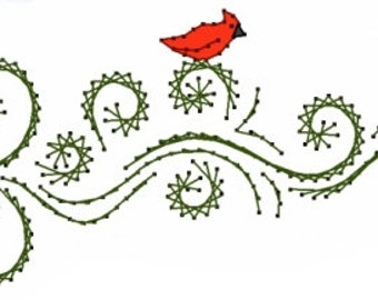 Cardinal with Swirls Christmas  Embroidery Pattern for Greeting Cards