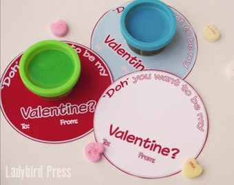 Valentines Day - Printable 'Play Doh' Valentine - Classroom Valentines - Non Candy