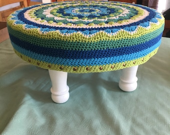Crochet Mandala Foot Stool