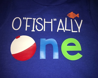 OFISHALLY One Shirt - One.  - fishing theme - for birthday party - fishing bobber - Set of Shirts for Kids, Babies, and Adults - Custom