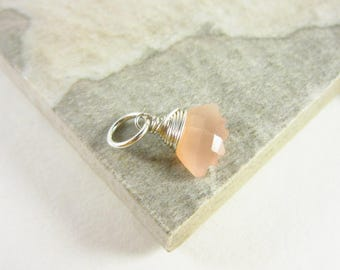 Peach Moonstone Charms - Carved Moonstone Pendant - Moonstone Jewelry - Sterling Silver Wire Wrapped - Peach Gemstone Jewelry
