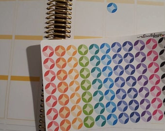 Mid Century Circles for your Planner, Set of 77 Stickers!!