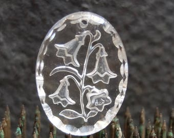 Vintage Glass Intaglio Pendant Finding Jewelry Supply West German